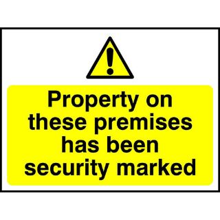 """Picture of """"Property On These Premises Has Been Security Marked"""" Sign"""
